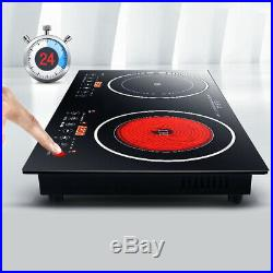 110V/2200W Electric Induction Cooker Cooktop Countertop Double Burner 8 Levels