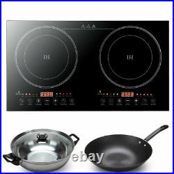 110V Electric Dual Induction Cooker Cooktop 2400W Countertop Double Burner New