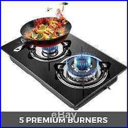 12 2 Burners Tempered Glass Gas Cooktop Gas Hob Built-In Stove iron grates