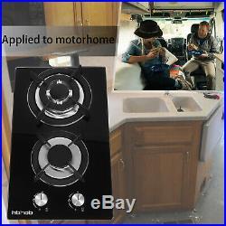 12 Built in Gas Hob Cooktop Black Glass 2 Burner Gas Stove Propane Cooker Range