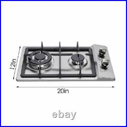 12 Gas Cooktop 2 Burners Drop-in Propane/natural Gas Cooker Gas Stove 110V US