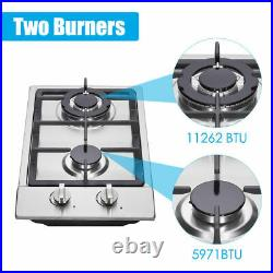 12 Gas Cooktop 2 Burners Drop-in Propane/natural Gas Cooker Gas Stove US New