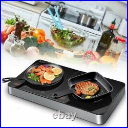 22 in 1800W Dual Induction Cooker Touch Control Glass Cerami Panel Cooktop 120V
