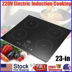 220V 6800W Electric Induction 4 Burner Cooktop Countertop Stove Glass Hot Plate