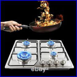 23 4 Burner Built-in Gas Cooktops Stainless Steel Natural Gas Stove Top US