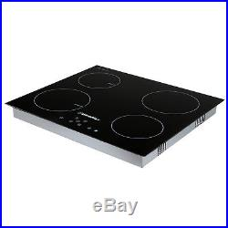 23.5'' Electric/Ceramic Induction Hob Cooker 4 Burners Stove Black Cooktop 240V