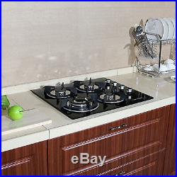 23.6'' Built-in 4 Burner GAS Cooktop Stove Cook Top & Tempered Glass NG/LPG Hob
