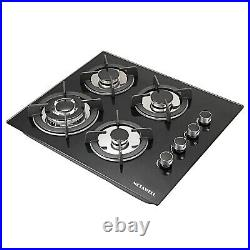 23.6 Built-in Cooktop Stove LPG/NG Gas Hob with4 Burner Countertop Tempered Glass
