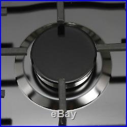 23 Black Titanium Stainless Steel 4 Burner Built-In Gas Cooktop Home Cooker