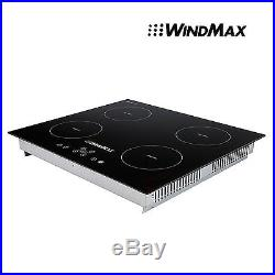23 inch Counter Top Induction Hob 4 Zone Stove Black Glass Home Cooktop Cooker