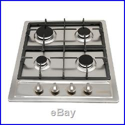 24 4 Burners Cooktop Built-In Stainless Steel Stove NG/LPG Gas Hob Cooker-USA