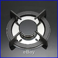 24 61cm 4Burners Built-In NG LPG Gas Stove Cooktop with Black Tempered Glass US