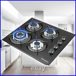 24'' Gas Stove Top Built-in 4 Burner Gas Range Cooktop Tempered Glass Cooktops