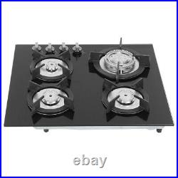 24 Tempered Glass 4 Burners Kitchen Stove Gas Hob LPG/NG Cooktops Cooker Black