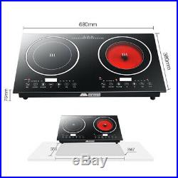 2400W Electric Dual Induction Cooker Cooktop 2 Burner Touch Black Crystal Panel