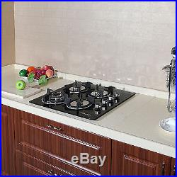 24in Black Tempered Glass Built-in 4 Burner Cooktops LPG NG Gas Hob Cooktops-USA