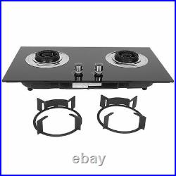 29 Tempered Glass 2 Burners Kitchen Liquefied Gas Stove Cooktops Cooker Black