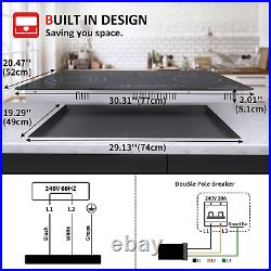 30/24 Built-In Electric Ceramic/Induction Cooktop 4 Burner Touch Control, Timer