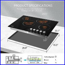 30'' 4 Burner 7400W Electric Radiant Cooktop Smoothtop with 5 Heat Setting Timer