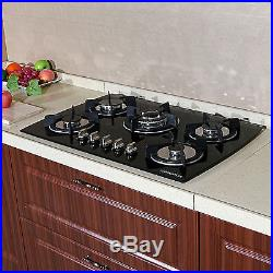 30 Black Glass LPG NG Built-in Kitchen 5 Burner Oven Gas Cooktop Stove 3.3KW