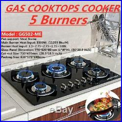 30 Built-in Cooktop Stove LPG/NG Gas Hob with5 Burners Countertop Tempered Glass