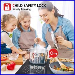 30 Drop-in Electric Cooktop Ceramic Stove, 4 Burner, Touch, Child Safety, Timer US