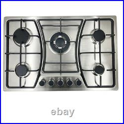 30'' Gas Cooktop Stove Stainless Steel NG& LPG Cook Top Hob Cooker 5 Burners US