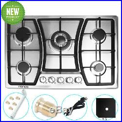30 Gas Cooktops 5 Burner Stainless Steel LPGNG Gas hob Built in Kitchen Cooking