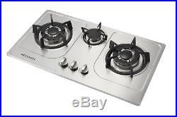 30 Stainless Steel 3 Burners Built-In Cooktop NG/LPG Gas Cooker Cooktops-Silver
