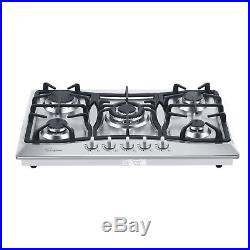 30 Stainless Steel 5 Italy Sabaf Burners Stovetop Gas Cooktop