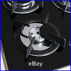 30Black Tempered Glass Plate Built-in Kitchen 5 Burner Gas Hob Cooktops Cooker