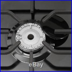 30Black Titanium Cooktop 5 Burner Built-in Stoves LPG/NG Gas Hob Cooker Cooktop