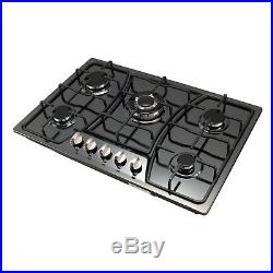 30in Black Titanium GAS Stainless Steel Cooktop Stove Cook Top 5 with Burner Wok
