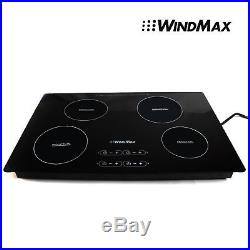 31.5 4 Burners Hobs Induction Cooktop Black Glass Plate Electric Stove Cooktops