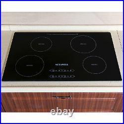 31.5 Induction Hob 4 Burner Stove Cooktops Black Glass Home Electric Cooker US
