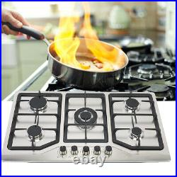 33.8 Stainless Steel Built-in 5Zone Stove Natural Gas Propane 5 Burner Cooktop