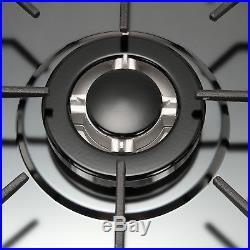 34 Black Titanium Steel Cooktops 5 Burners Gas Stoves Top Hob & NG/LPG Kitchen