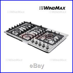 34 Built-In 5 Burner Cooktop Gas Hob Stainless Steel Gas Stove Kitchen Cooker