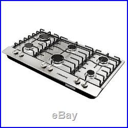 34 Titanium Stainless Steel 6 Burner Built-In Stoves Gas Cooktop Kitchen Cooker