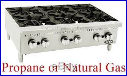36 3 foot wide Hot Plate six 6 Burner Counter Top Range Propane Natural LP Gas