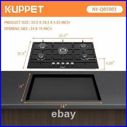 36 Built-in Gas Cooktop KUPPET QB5903 Gas Stove with 5 Booster Burners Black