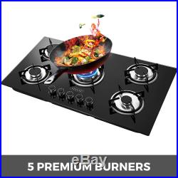36 Gas Cooktop Gas Hob Tempered Glass 5 Burners Electric Ignite Built-In Stove