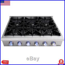 36 Gas Hob Gas Cooktop 6 Burners Built-In Stove Kitchen Easy Clean Gas Cooking
