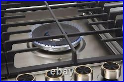 36 Gas Stove Cooktop 5 Italy Sabaf Burners Stainless made by LYCAN More durable