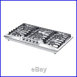 36 Stainless Steel 5 Italy Sabaf Burners Stove Top Gas Cooktop