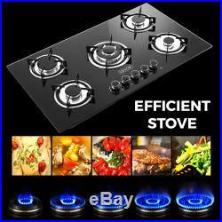 36 Tempered Glass Gas Cooktop 5 Burners Kitchen Cooktop Black Gas Cooking