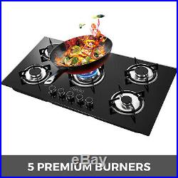 36 Tempered Glass Gas Cooktop 5 Burners Kitchen Cooktop High Heat Gas Cooking