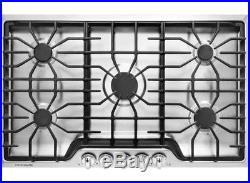 36 in. Gas Cooktop Stainless Steel 5 Burners Pilotless Ignition Heavy duty Iron