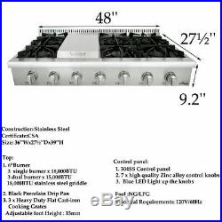 6 burner Range stove 48 Inch Rangetop Stainless Steel Thor Kitchen HRT4806U USA