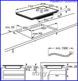 AEG IKE74441FB 71cm Bridge SLIM-FIT Induction Kitchen Hob New